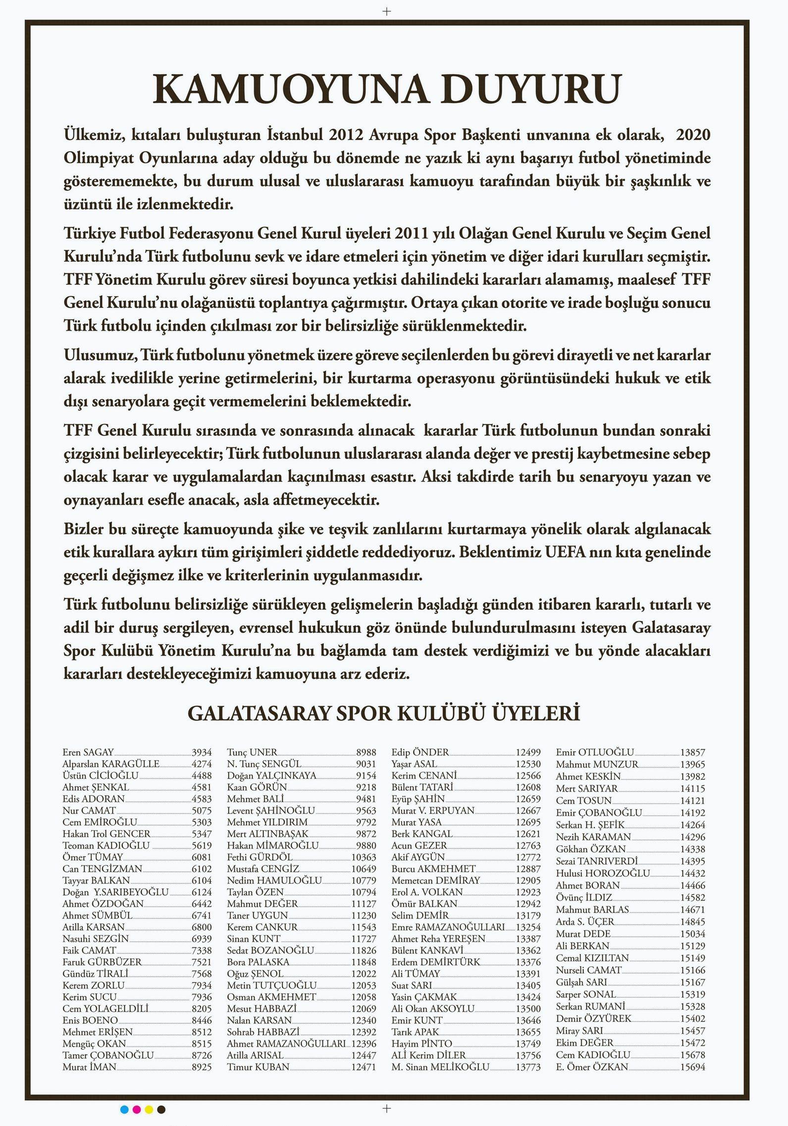 Galatasaray Spor Kulübü üyelerinden kamuoyuna duyuru...
